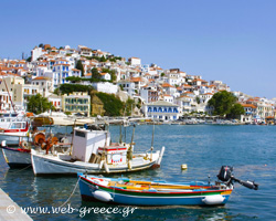 Skopelos: The green pine trees meets the blue of the sea…